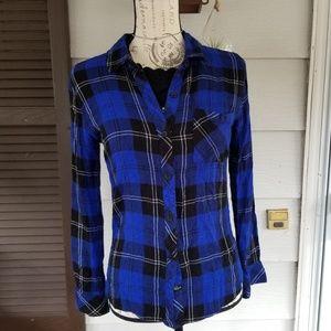 Rails hunter blue plaid shirt size XS
